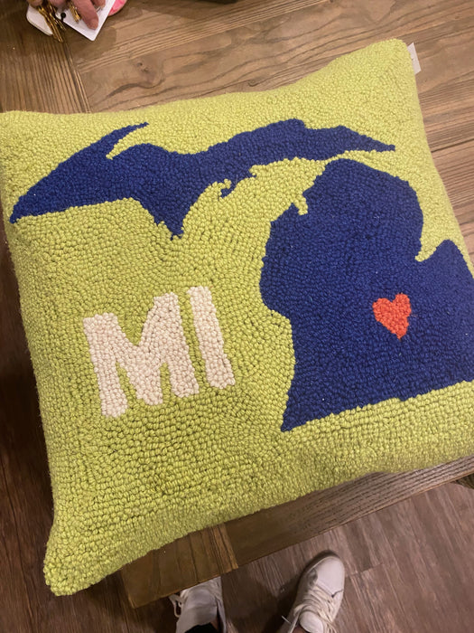 Green & Navy Michigan Heart Pillow