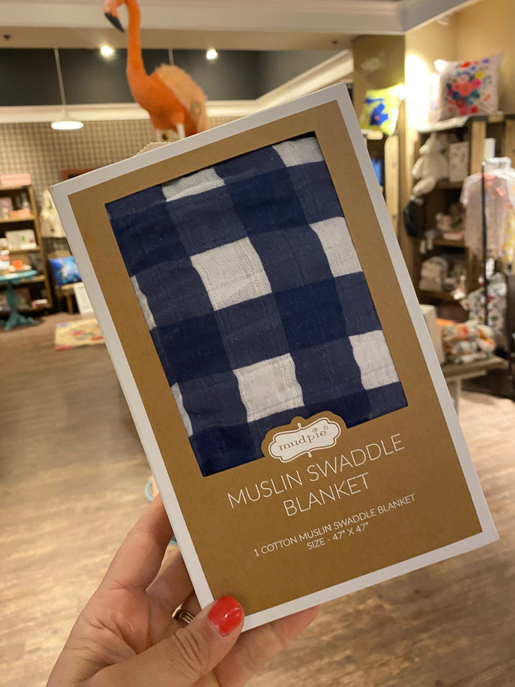 Blue Gingham Swaddle Blanket