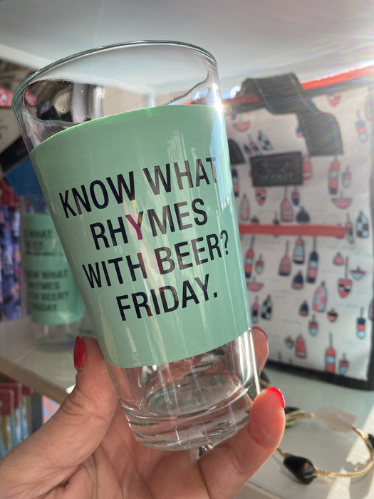 Rhymes with Beer Pint Glass