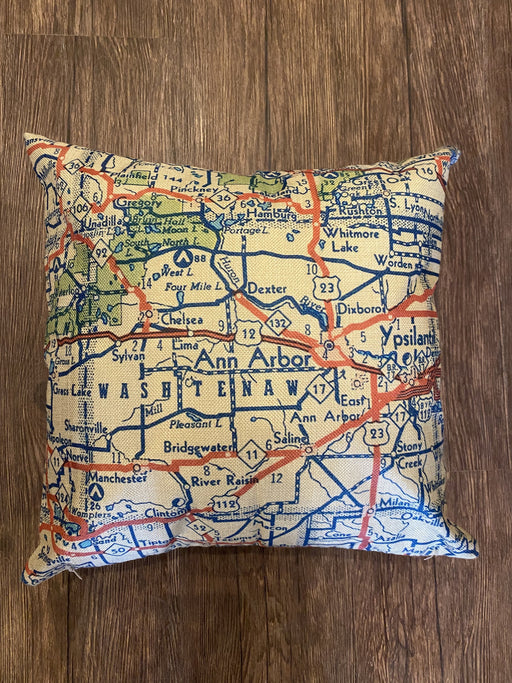Ann Arbor Street Map Pillow