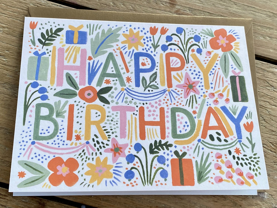 Happy Birthday Folk Bright Card