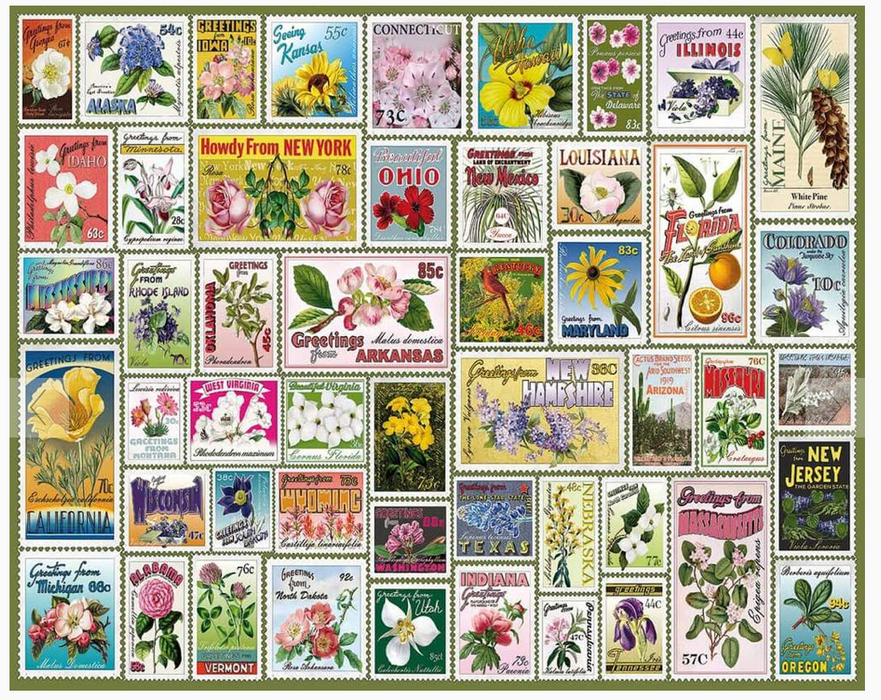 State Flower Stamps 1000 Piece Puzzle