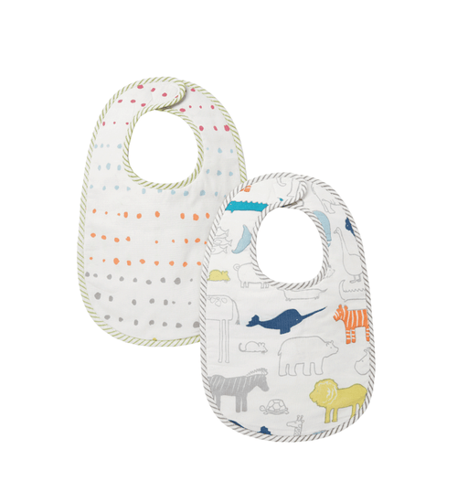 Noah's Ark & Painted Dot Organic Bibs, Set of 2