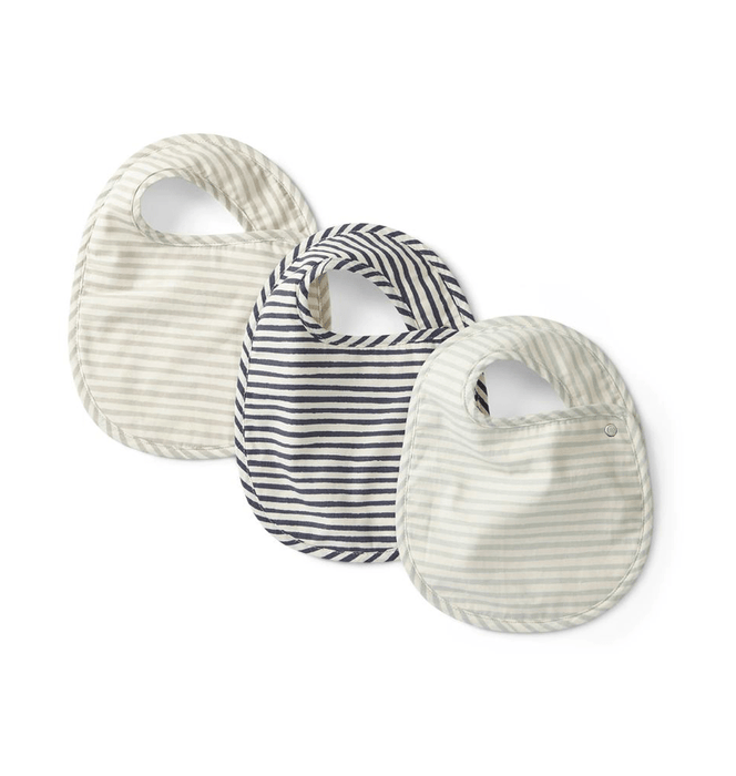 Ink Blue, Sea and Grey Organic Bibs, Set of 3