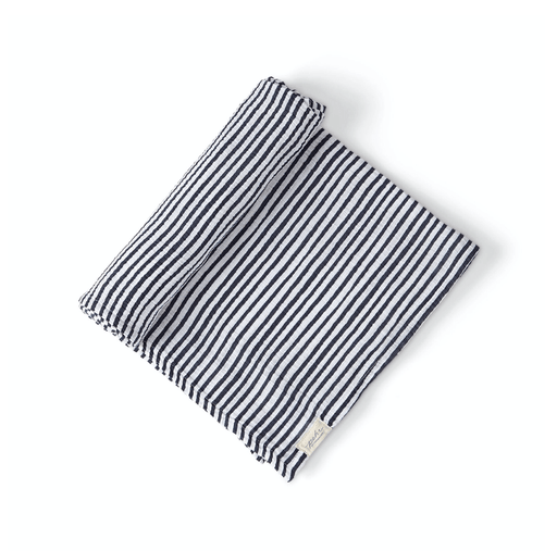 Ink Blue Striped Organic Swaddle