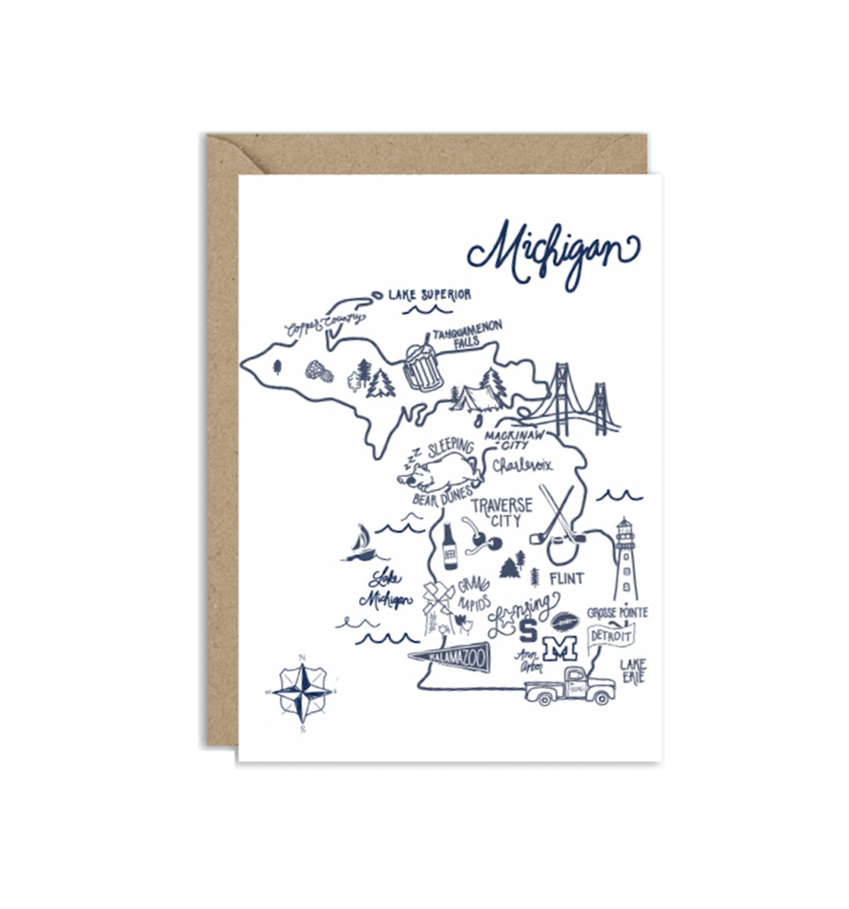 Michigan Map Illustration Card