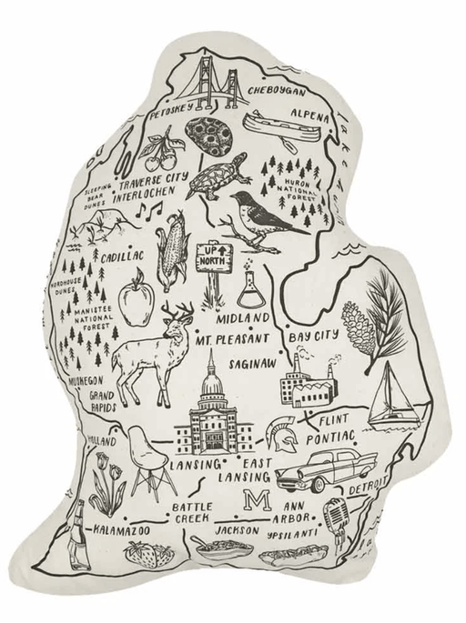 Illustrated Lower Peninsula-Shaped Pillow
