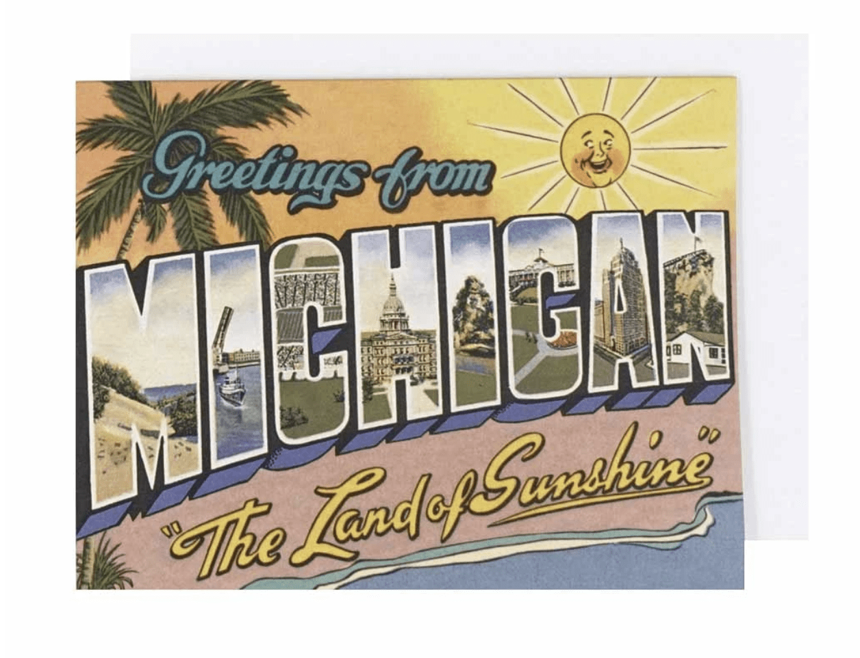 Greetings From Michigan Land of Sunshine Card