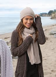 Barefoot Dreams Cozychic Taupe Ribbed Scarf