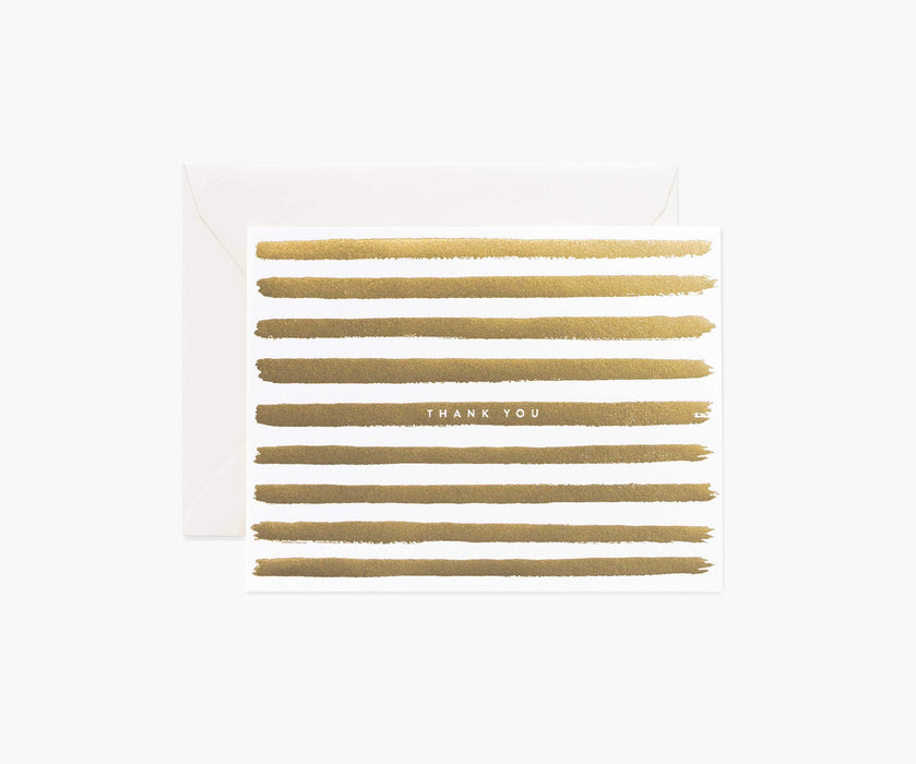 "Gold Foil Stripes ""Thank You"" Card"