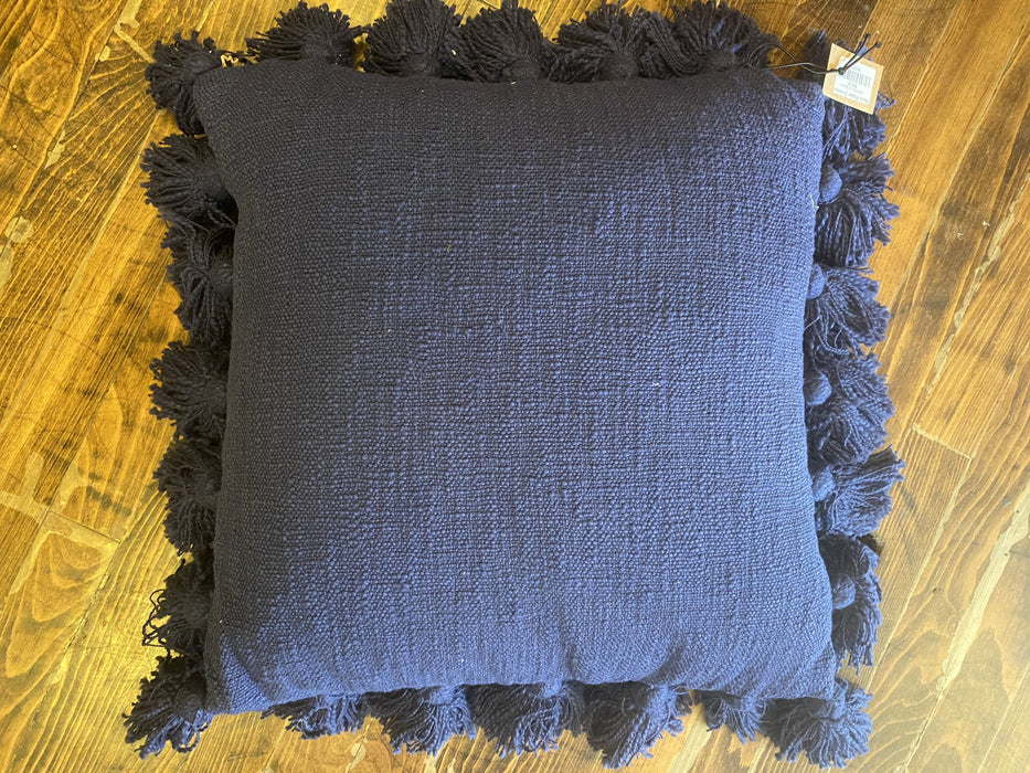 Navy Pom Pillow