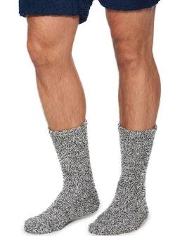 Barefoot Dreams Cozychic Heathered Men's Charcoal Socks