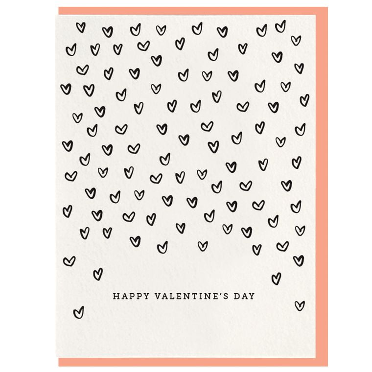 Valentine's Day Hearts - Letterpress Card
