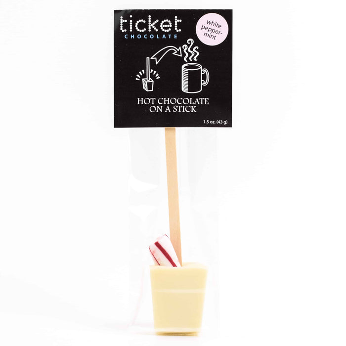 Single Hot Chocolate on a Stick - Peppermint White Chocolate