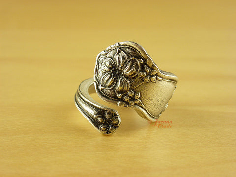 Orange Blossom Upcycled Britannia Pewter Spoon Ring 4