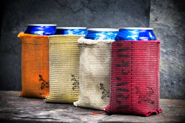 Drink sleeves from recycled fireman's fire hoses