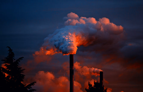 greenhouse gas fume pillars into the air