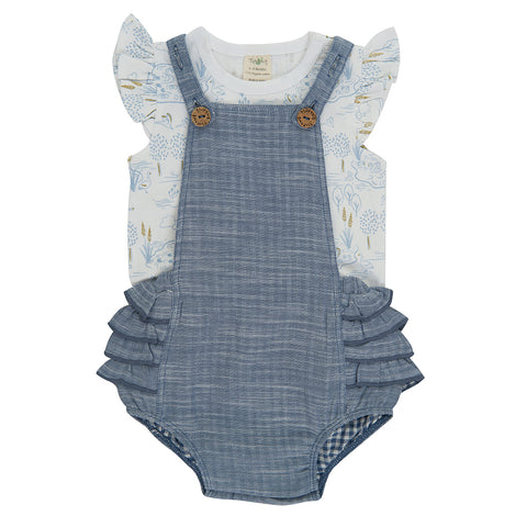 Blue Chambray Ruffle Romper