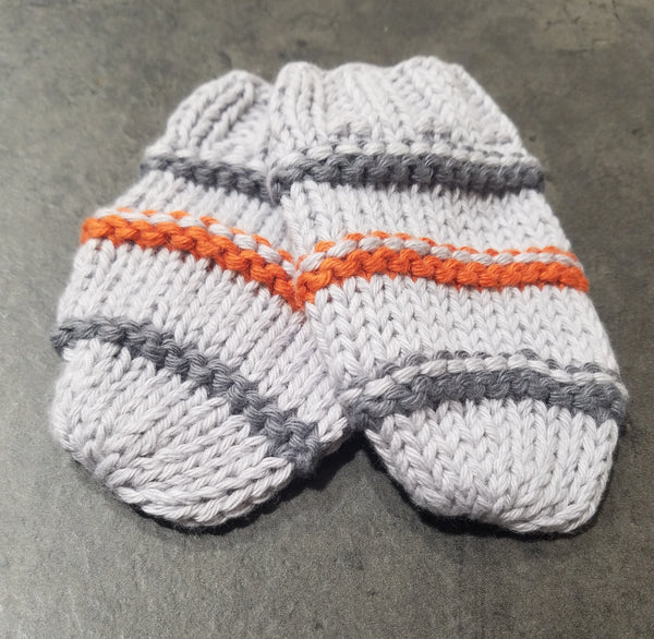 Thumbless Knit Mittens, LtGrey/Charcoal/Orange