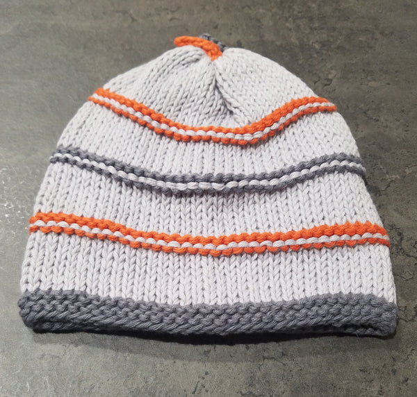Knit Hat, LtGrey/Charcoal/Orange