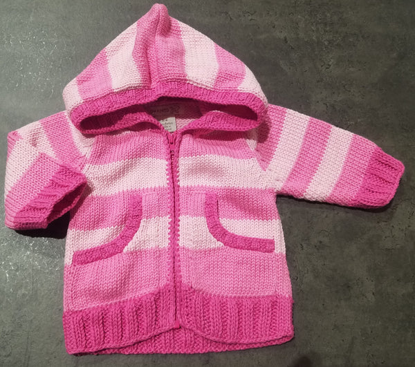 Stripe Zip Knitted Sweater-Light Pink/Bright Pink/Hot Pink