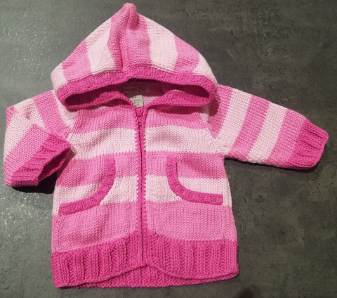 Stripe Zip Knitted Sweater, Pinks