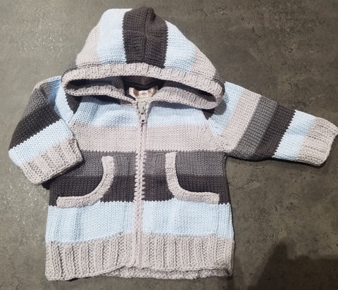 Stripe Knit Zipper Sweater-Charcoal/Grey/Light Blue