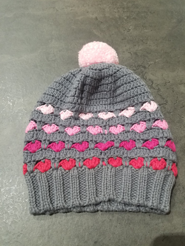 Pom Pom Knit Hat, Charcoal/Pink/Red