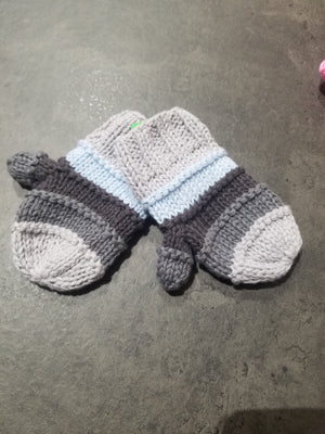 Knit Stripe Mittens, Blue/Grey