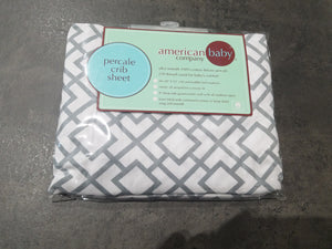 Percale Crib Sheet - Grey/White Diamond