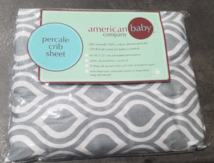 Percale Crib Sheet - Grey/White