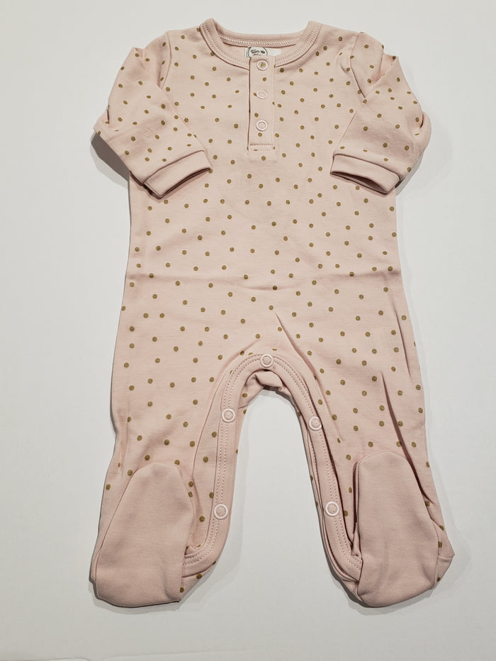 Henley Gold Dots Footie, Pink