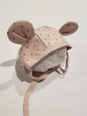 Bear Dot Hat, Pink/Gold