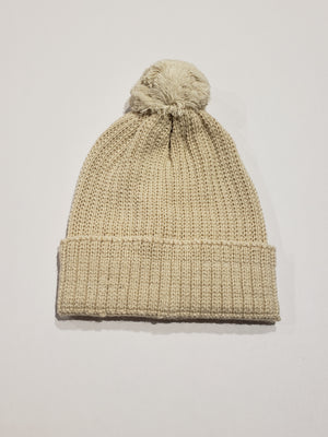 Knitted Pompom Hat, Ivory