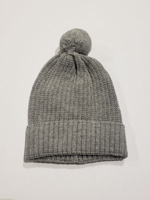 Knitted Pompom Hat, Grey