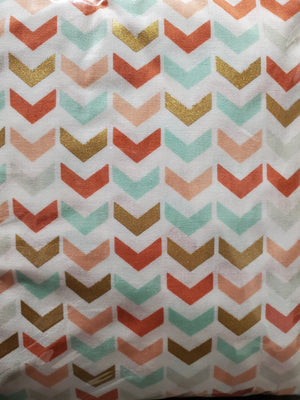 Aqua And Coral Chevron Crib Sheet