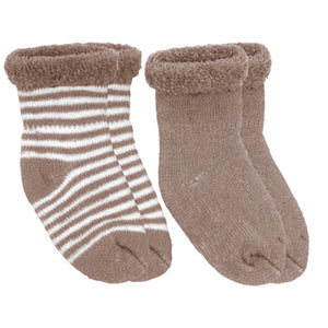 2PK Newborn Terry Socks, Mocha