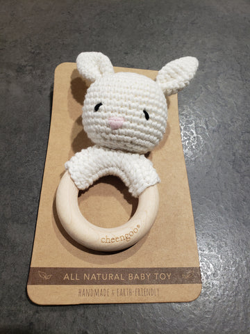 Bunny Teether, Snow/Wood