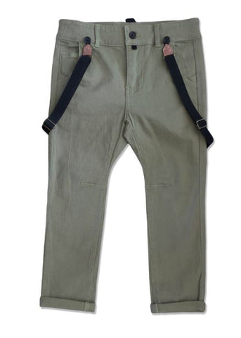 Olive Pant W/Suspenders
