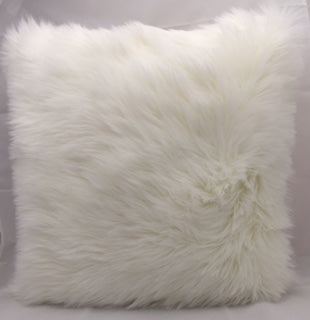 Throw Pillow Faux Fur - White