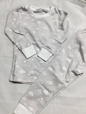 Clouds 2PC Pajama Set, Silver