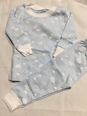 Clouds 2PC Pajama Set, Blue