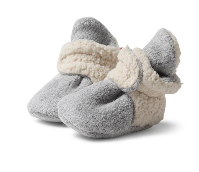 Furry Fleece Booties, Heather Gray
