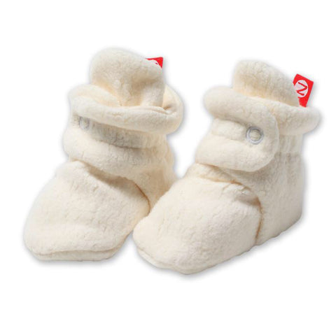 Cozie Fleece Booties, Cream