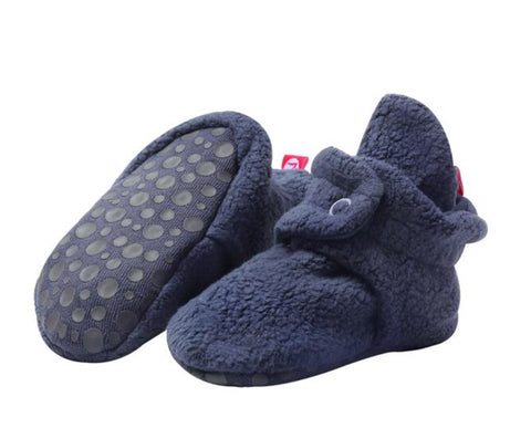 Cozie Fleece Gripper Booties, Denim Navy