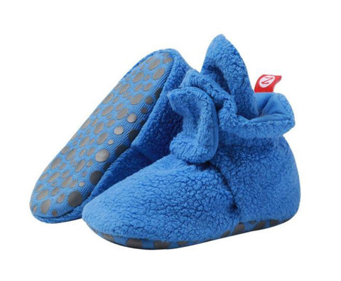 Cozie Fleece Gripper Booties, Periwinkle