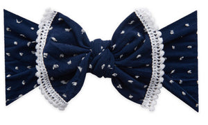 Headband: Trimmed Knot, Navy Dot