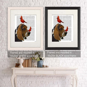 Real Book Page, Bassett Hound And Birds