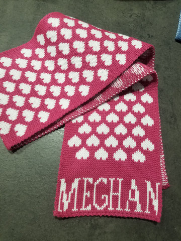 Personalized Hearts Scarf