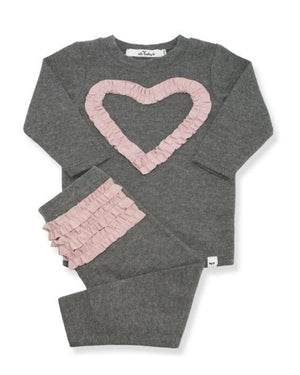 Ruffle Pink Heart 2PC Set